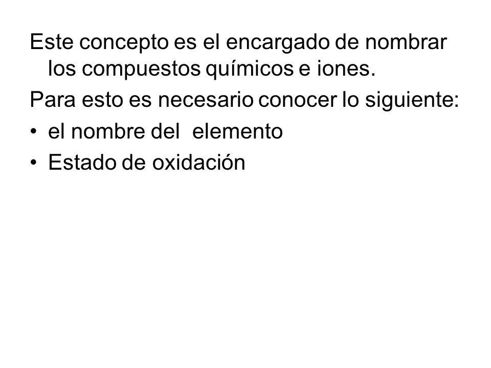 Este concepto es el encargado de nombrar los compuestos químicos e iones. Para esto es necesario conocer lo siguiente: el nombre del elemento Estado d