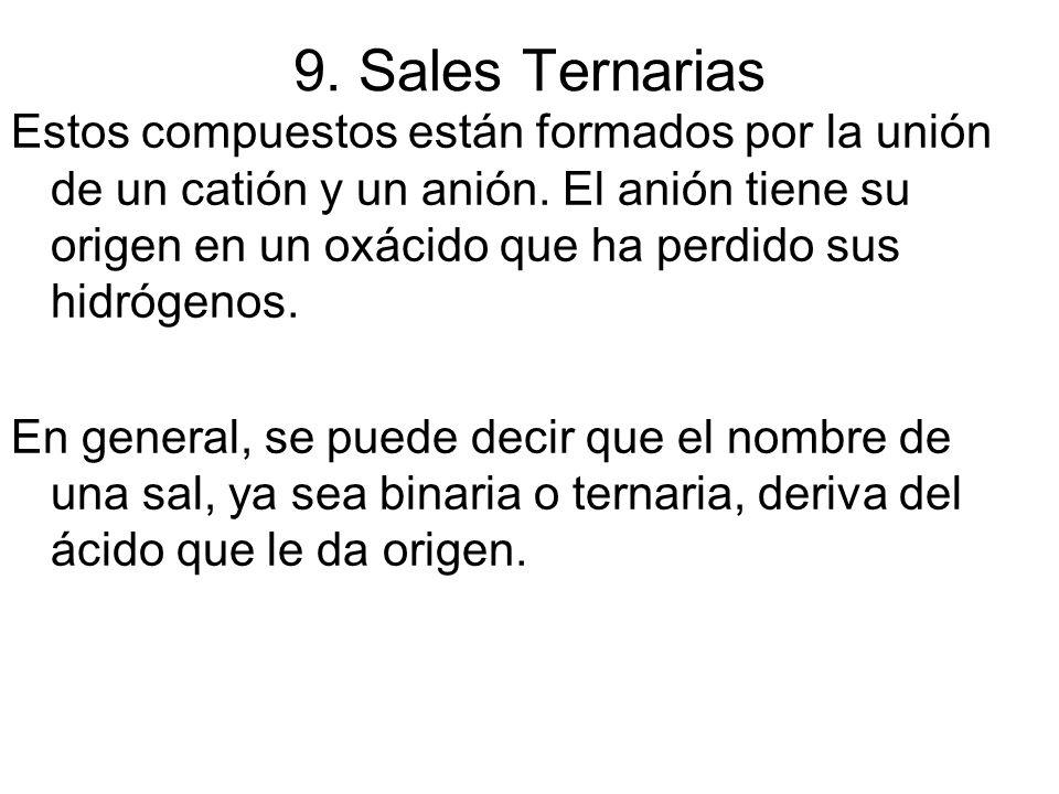 9. Sales Ternarias Estos compuestos están formados por la unión de un catión y un anión. El anión tiene su origen en un oxácido que ha perdido sus hid