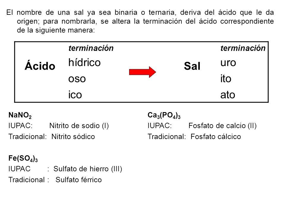 El nombre de una sal ya sea binaria o ternaria, deriva del ácido que le da origen; para nombrarla, se altera la terminación del ácido correspondiente