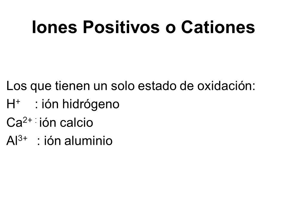 Los que tienen un solo estado de oxidación: H + : ión hidrógeno Ca 2+ : ión calcio Al 3+ : ión aluminio Iones Positivos o Cationes