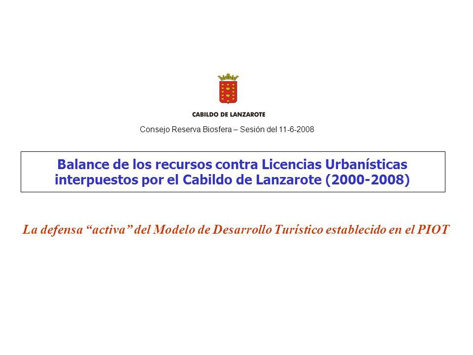 Balance de los recursos contra Licencias Urbanísticas interpuestos por el Cabildo de Lanzarote (2000-2008) La defensa activa del Modelo de Desarrollo Turístico establecido en el PIOT Consejo Reserva Biosfera – Sesión del 11-6-2008