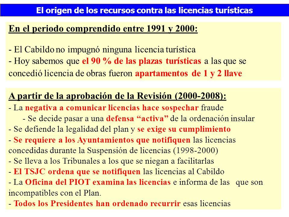 El origen de los recursos contra las licencias turísticas En el periodo comprendido entre 1991 y 2000: - El Cabildo no impugnó ninguna licencia turística - Hoy sabemos que el 90 % de las plazas turísticas a las que se concedió licencia de obras fueron apartamentos de 1 y 2 llave A partir de la aprobación de la Revisión (2000-2008): - La negativa a comunicar licencias hace sospechar fraude - Se decide pasar a una defensa activa de la ordenación insular - Se defiende la legalidad del plan y se exige su cumplimiento - Se requiere a los Ayuntamientos que notifiquen las licencias concedidas durante la Suspensión de licencias (1998-2000) - Se lleva a los Tribunales a los que se niegan a facilitarlas - El TSJC ordena que se notifiquen las licencias al Cabildo - La Oficina del PIOT examina las licencias e informa de las que son incompatibles con el Plan.
