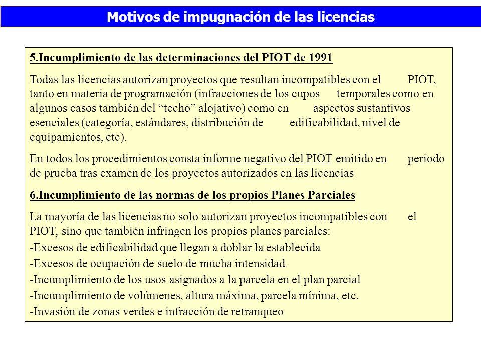 Motivos de impugnación de las licencias 5.Incumplimiento de las determinaciones del PIOT de 1991 Todas las licencias autorizan proyectos que resultan incompatibles con el PIOT, tanto en materia de programación (infracciones de los cupos temporales como en algunos casos también del techo alojativo) como en aspectos sustantivos esenciales (categoría, estándares, distribución de edificabilidad, nivel de equipamientos, etc).