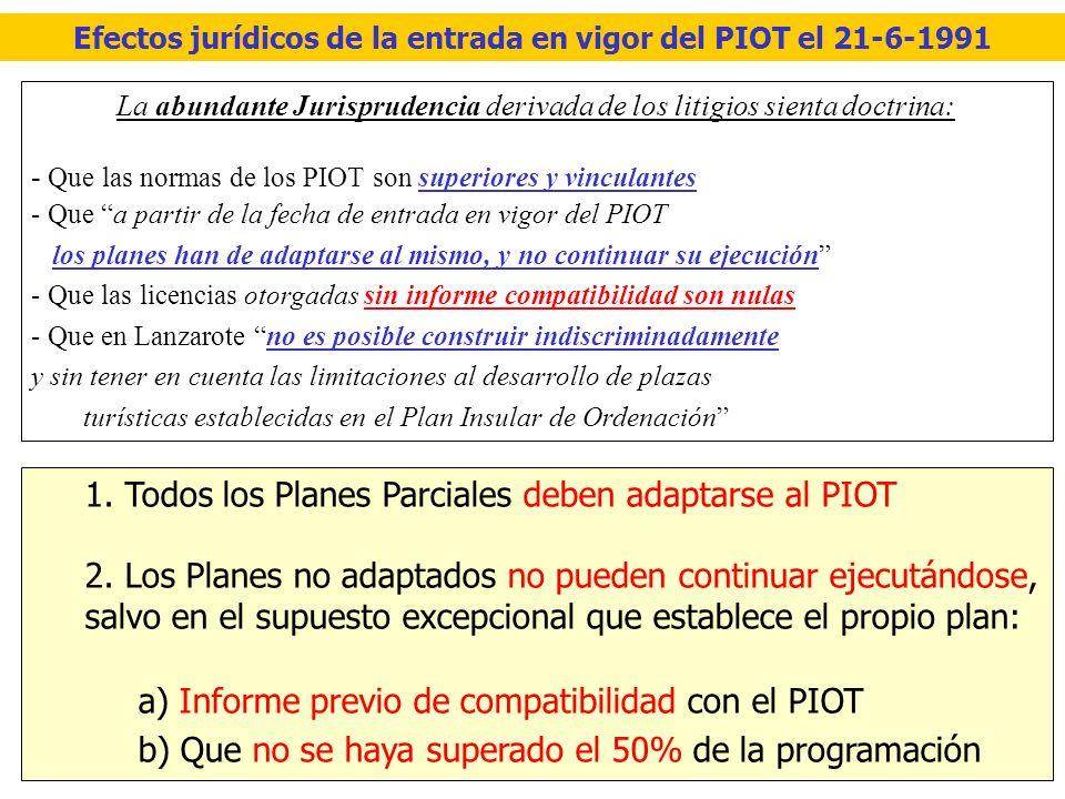 Efectos jurídicos de la entrada en vigor del PIOT el 21-6-1991 1.