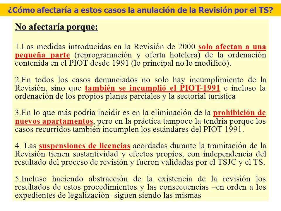El origen de los recursos contra las licencias turísticas Contra la aprobación del PIOT de 1991 se presentaron 17 recursos -Todos los recursos fueron formulados por propietarios y promotores.