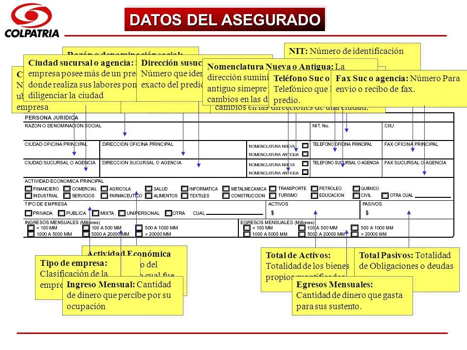 SUBGERENCIA DE CAPACITACION COMERCIAL DATOS DEL ASEGURADO Razón o denominación social: Nombre de la Empresa del cual es el representante legal NIT: Nú