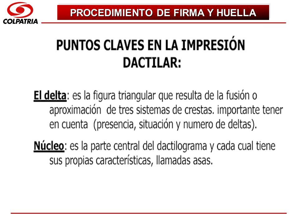 SUBGERENCIA DE CAPACITACION COMERCIAL PROCEDIMIENTO DE FIRMA Y HUELLA