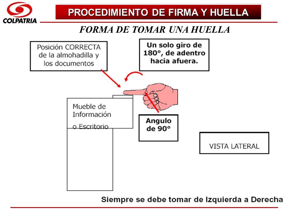 SUBGERENCIA DE CAPACITACION COMERCIAL FORMA DE TOMAR UNA HUELLA PROCEDIMIENTO DE FIRMA Y HUELLA
