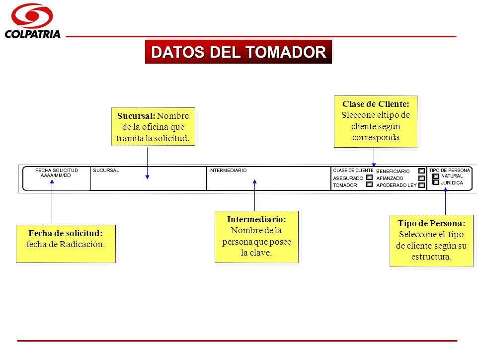 SUBGERENCIA DE CAPACITACION COMERCIAL DATOS DEL TOMADOR Fecha de solicitud: fecha de Radicación. Sucursal: Nombre de la oficina que tramita la solicit