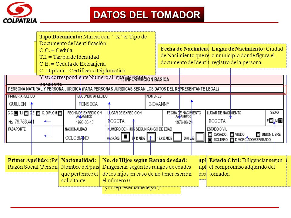 SUBGERENCIA DE CAPACITACION COMERCIAL DATOS DEL TOMADOR Primer Apellido: (Persona Natural) Razón Social (Persona Jurídica) Segundo Apellido: (Persona