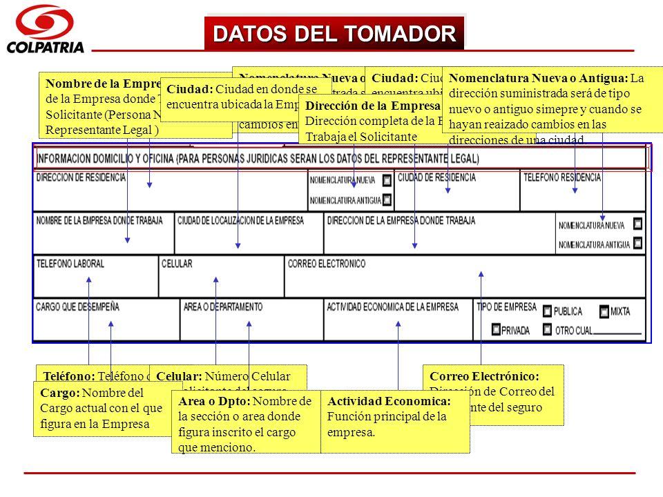 SUBGERENCIA DE CAPACITACION COMERCIAL DATOS DEL TOMADOR Dirección Residencia: Dirección donde vive el solicitante (Persona Natural y/o Jurídica) Nomen