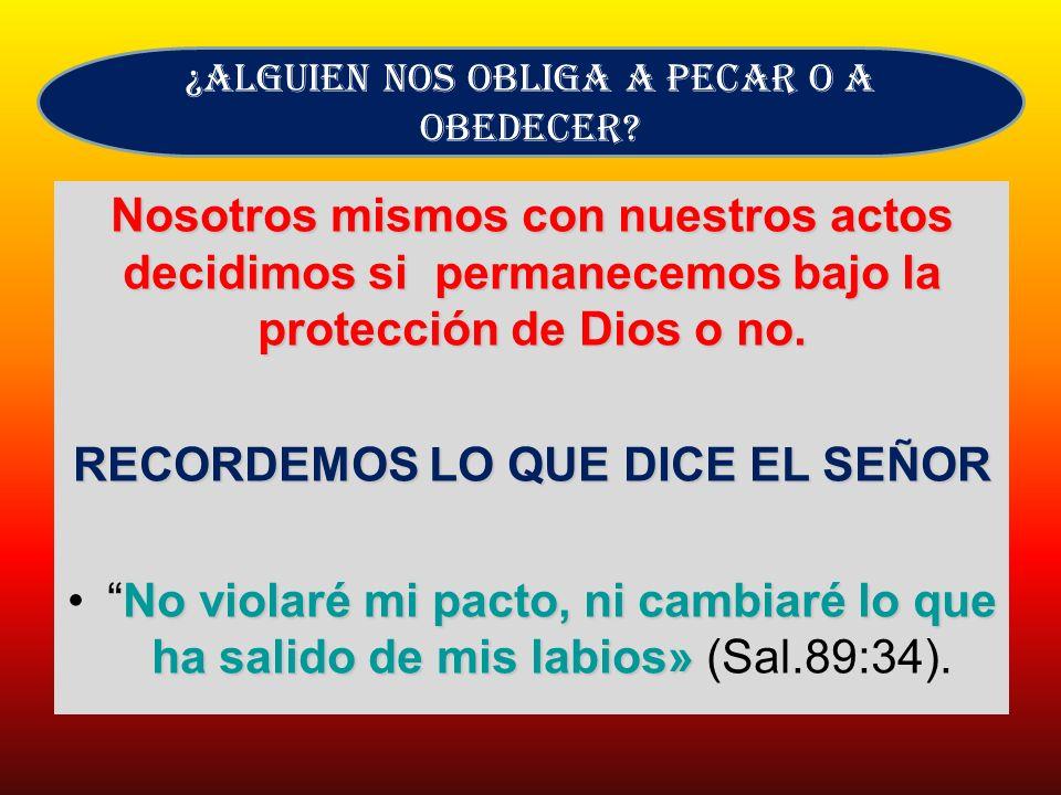 Nosotros mismos con nuestros actos decidimos si permanecemos bajo la protección de Dios o no. RECORDEMOS LO QUE DICE EL SEÑOR No violaré mi pacto, ni