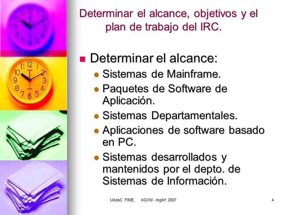 UAdeC FIME AGVM - IngInf 200715 Validar Información del IRC La integridad de la información acerca de las aplicaciones actuales y plataformas tecnológicas debe ser verificada antes de ser ampliamente difundida.