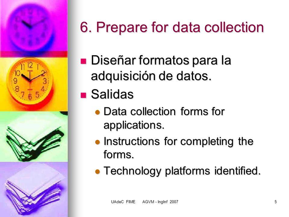 UAdeC FIME AGVM - IngInf 20076 Determinar los datos que serán compilados acerca de las aplicaciones Task1:Decidir cuáles serán los datos más útiles, los elementos de datos compilados incluirán: Task1:Decidir cuáles serán los datos más útiles, los elementos de datos compilados incluirán: Un nombre corto (acrónimo o abreviación) y el nombre largo (oficial) asignado al sistema.