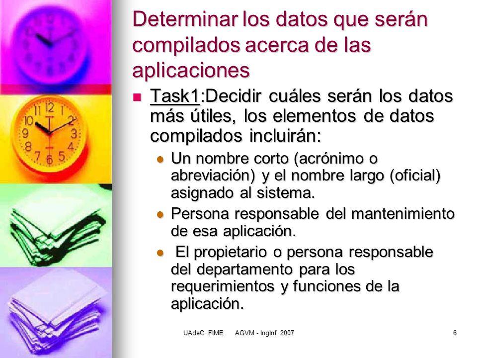 UAdeC FIME AGVM - IngInf 200717 Data Architecture La DA consiste de entidades de datos, cada una de las cuales tiene atributos y relaciones con otras entidades de datos.