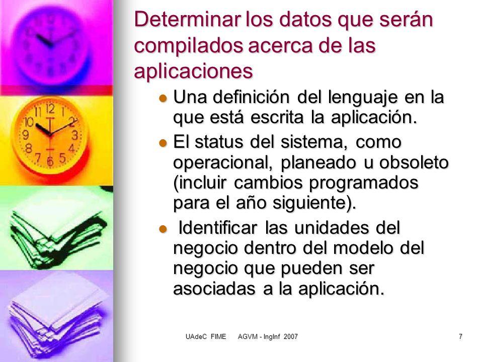 UAdeC FIME AGVM - IngInf 20078 Determinar los datos que serán compilados acerca de las aplicaciones Funciones del negocio apoyadas por el IS.