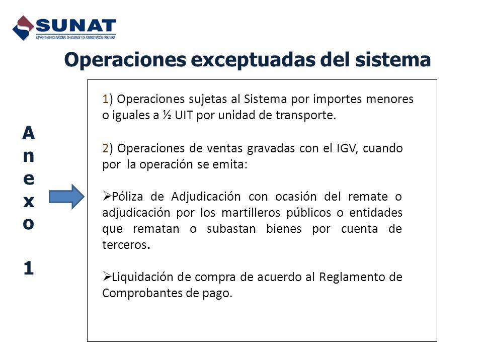 Operaciones exceptuadas del sistema Anexo1Anexo1 1) Operaciones sujetas al Sistema por importes menores o iguales a ½ UIT por unidad de transporte. 2)