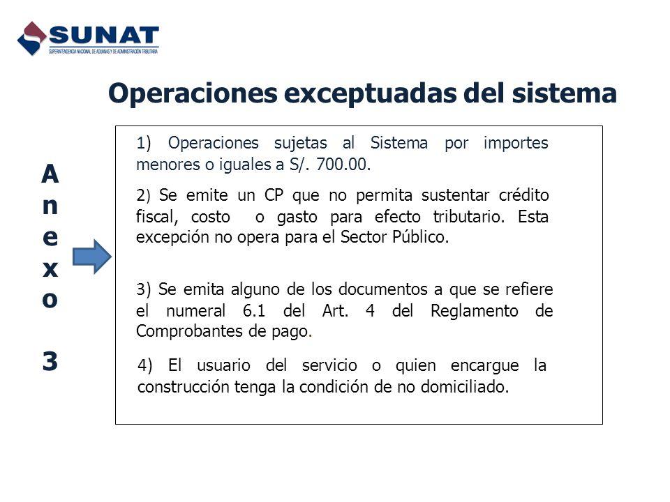 Operaciones exceptuadas del sistema 1) Operaciones sujetas al Sistema por importes menores o iguales a S/. 700.00. 2 ) Se emite un CP que no permita s