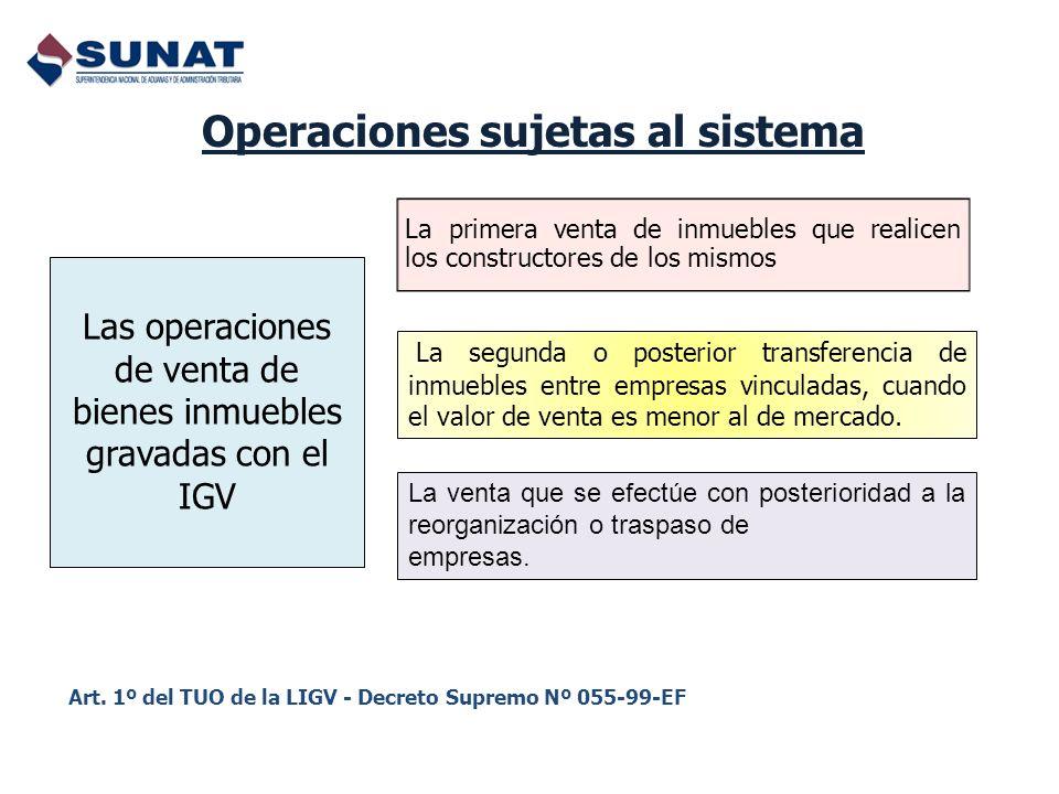 Operaciones sujetas al sistema Las operaciones de venta de bienes inmuebles gravadas con el IGV La primera venta de inmuebles que realicen los constru