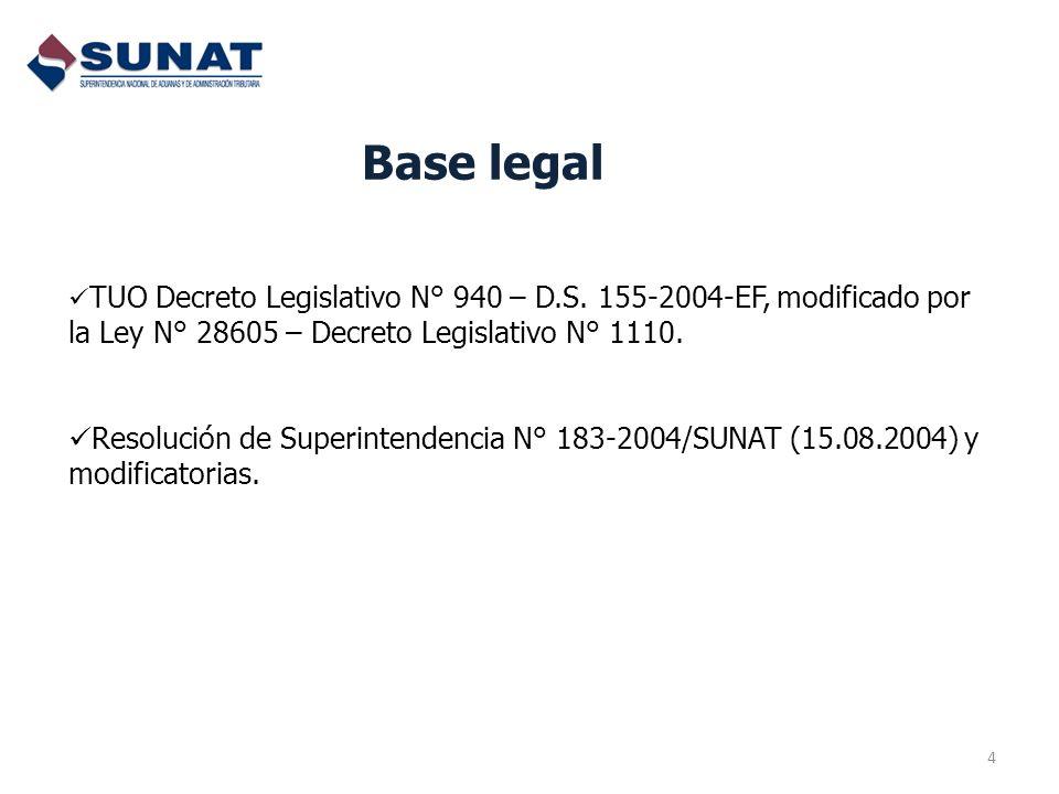 Base legal 4 TUO Decreto Legislativo N° 940 – D.S. 155-2004-EF, modificado por la Ley N° 28605 – Decreto Legislativo N° 1110. Resolución de Superinten