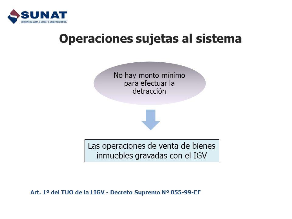 Operaciones sujetas al sistema Las operaciones de venta de bienes inmuebles gravadas con el IGV Art. 1º del TUO de la LIGV - Decreto Supremo Nº 055-99