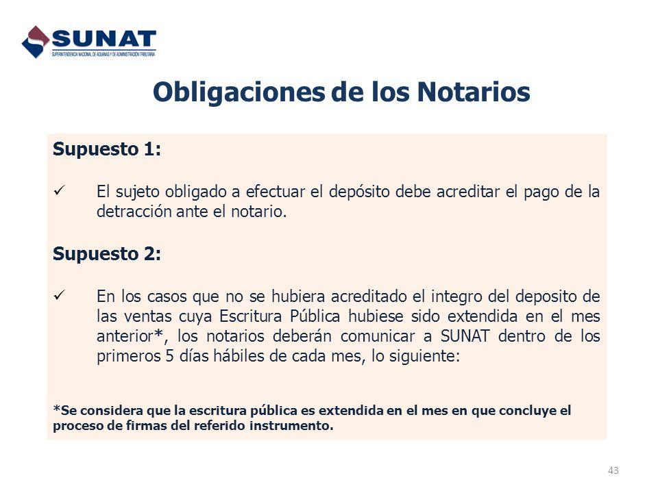 43 Obligaciones de los Notarios Supuesto 1: El sujeto obligado a efectuar el depósito debe acreditar el pago de la detracción ante el notario. Supuest