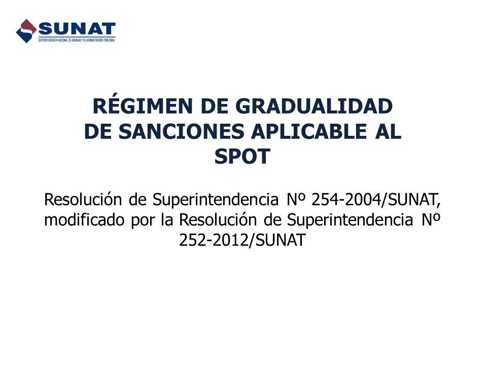 RÉGIMEN DE GRADUALIDAD DE SANCIONES APLICABLE AL SPOT Resolución de Superintendencia Nº 254-2004/SUNAT, modificado por la Resolución de Superintendenc