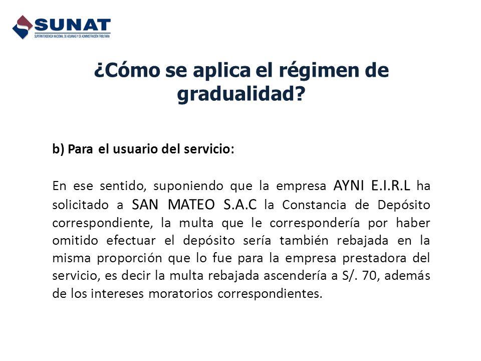 ¿Cómo se aplica el régimen de gradualidad? b) Para el usuario del servicio: En ese sentido, suponiendo que la empresa AYNI E.I.R.L ha solicitado a SAN