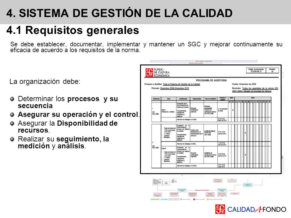 4. SISTEMA DE GESTIÓN DE LA CALIDAD Se debe establecer, documentar, implementar y mantener un SGC y mejorar continuamente su eficacia de acuerdo a los