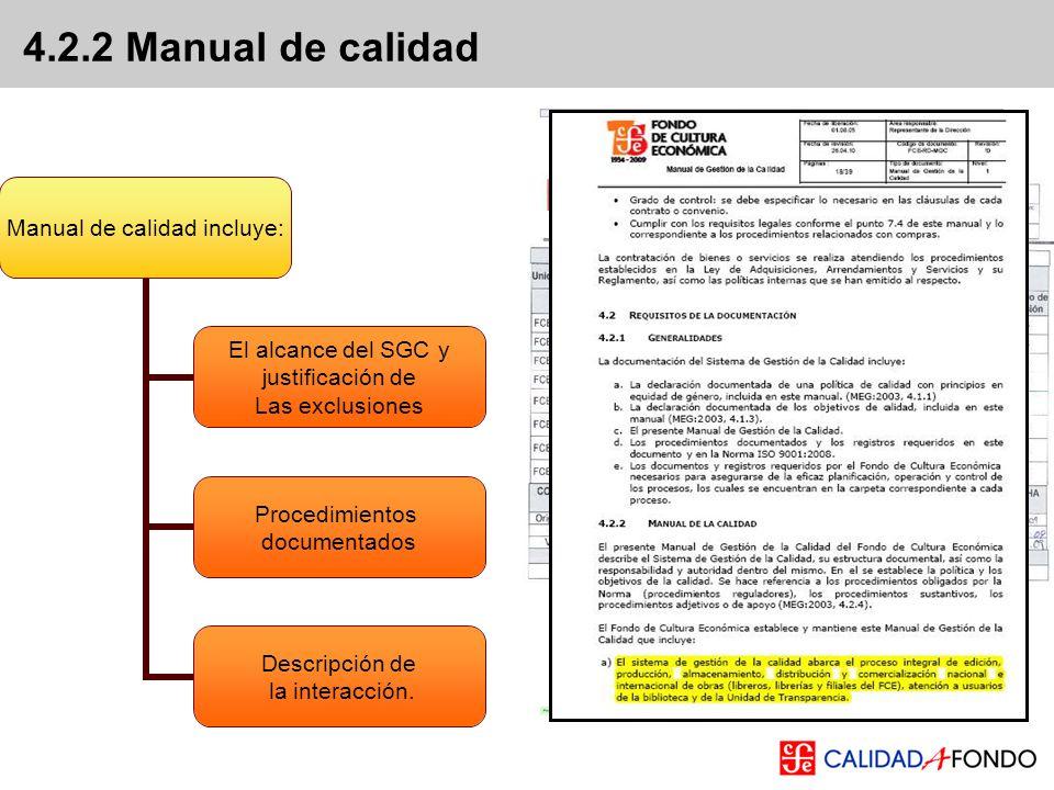 4.2.2 Manual de calidad Manual de calidad incluye: El alcance del SGC y justificación de Las exclusiones Procedimientos documentados Descripción de la