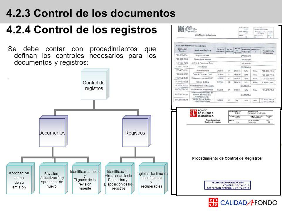 4.2.3 Control de los documentos Se debe contar con procedimientos que definan los controles necesarios para los documentos y registros:. 4.2.4 Control