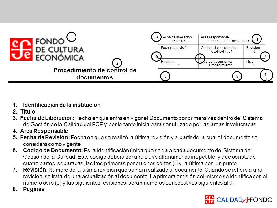 Procedimiento de control de documentos Fecha de liberación: 15.07.05 Área responsable: Representante de la dirección Fecha de revisión: -- Código de d