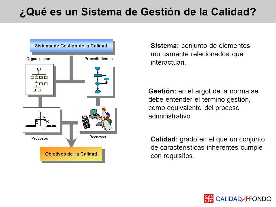 Sistema: conjunto de elementos mutuamente relacionados que interactúan. ¿Qué es un Sistema de Gestión de la Calidad? Calidad: grado en el que un conju