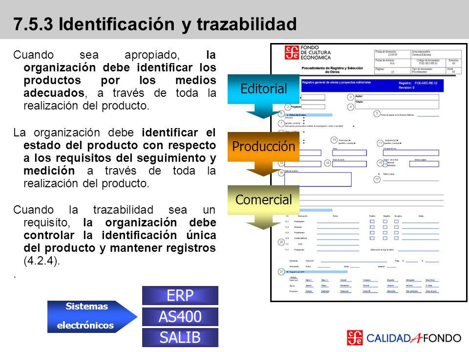 7.5.3 Identificación y trazabilidad Cuando sea apropiado, la organización debe identificar los productos por los medios adecuados, a través de toda la