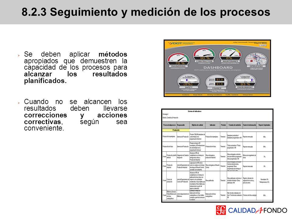 Se deben aplicar métodos apropiados que demuestren la capacidad de los procesos para alcanzar los resultados planificados. Cuando no se alcancen los r