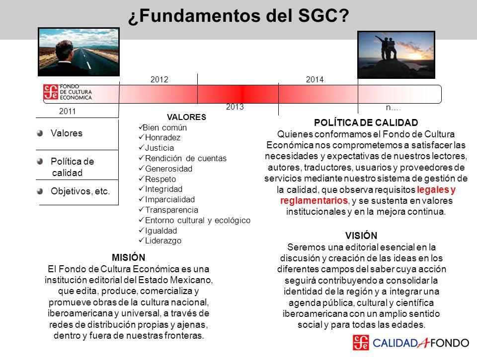 ¿Fundamentos del SGC? MISIÓN El Fondo de Cultura Económica es una institución editorial del Estado Mexicano, que edita, produce, comercializa y promue