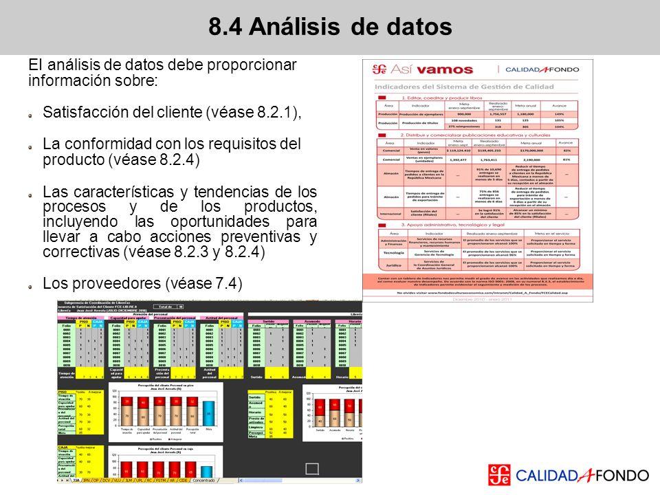 EI análisis de datos debe proporcionar información sobre: Satisfacción del cliente (véase 8.2.1), La conformidad con los requisitos del producto (véas