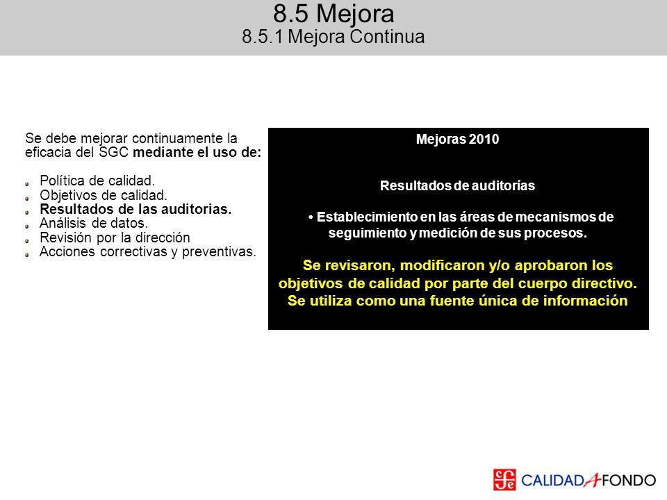 Mejoras 2010 Resultados de auditorías Establecimiento en las áreas de mecanismos de seguimiento y medición de sus procesos. Se revisaron, modificaron