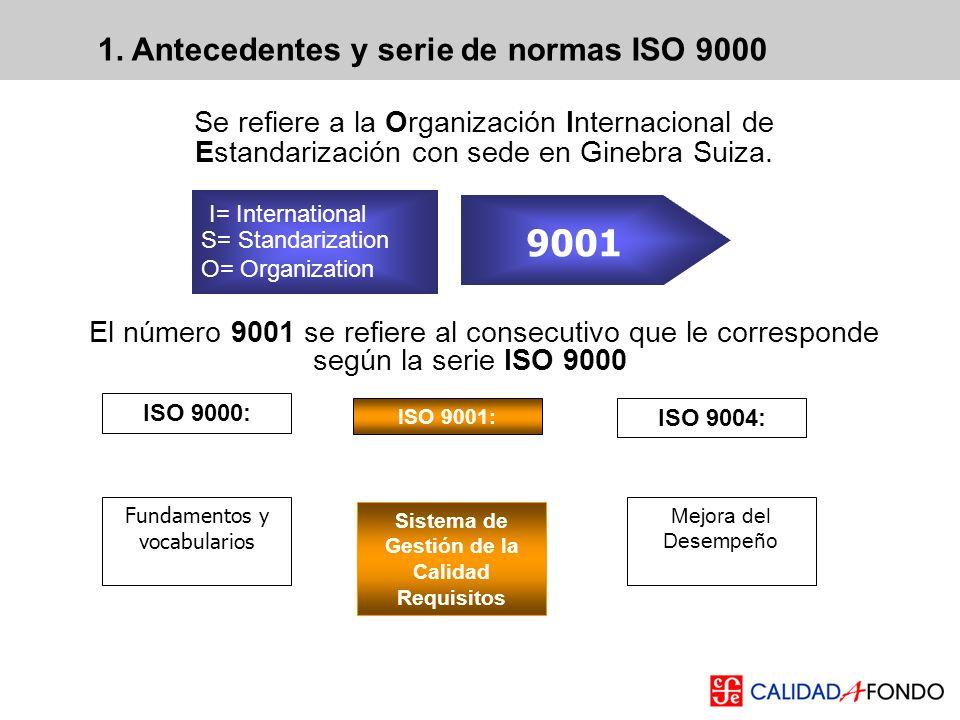 1. Antecedentes y serie de normas ISO 9000 Se refiere a la Organización Internacional de Estandarización con sede en Ginebra Suiza. El número 9001 se