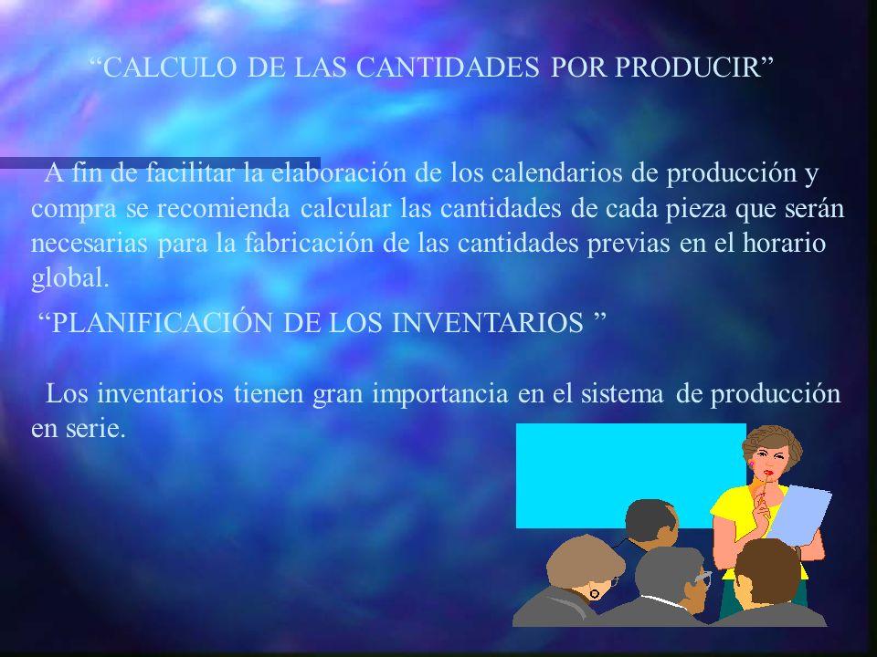 CALCULO DE LAS CANTIDADES POR PRODUCIR A fin de facilitar la elaboración de los calendarios de producción y compra se recomienda calcular las cantidad
