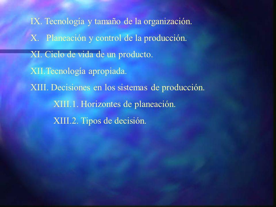 IX. Tecnología y tamaño de la organización. X. Planeación y control de la producción. XI. Ciclo de vida de un producto. XII.Tecnología apropiada. XIII