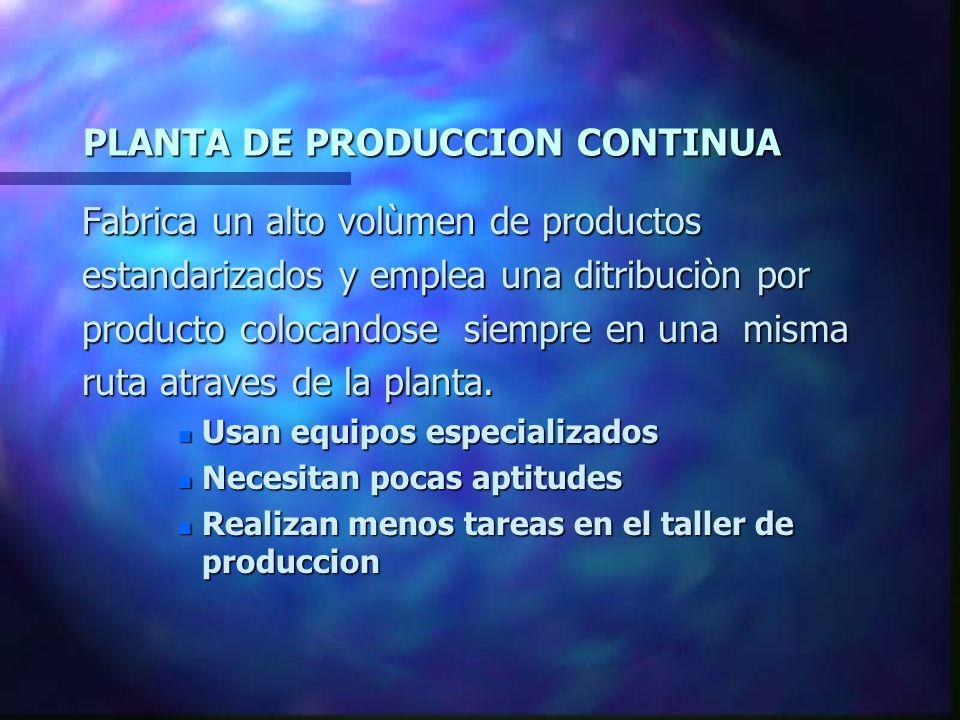 PLANTA DE PRODUCCION CONTINUA Fabrica un alto volùmen de productos estandarizados y emplea una ditribuciòn por producto colocandose siempre en una mis