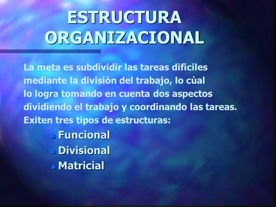 ESTRUCTURA ORGANIZACIONAL La meta es subdividir las tareas dificiles mediante la divisiòn del trabajo, lo cùal lo logra tomando en cuenta dos aspectos