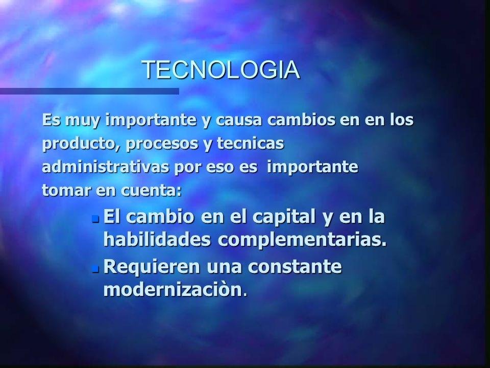 TECNOLOGIA Es muy importante y causa cambios en en los producto, procesos y tecnicas administrativas por eso es importante tomar en cuenta: n El cambi