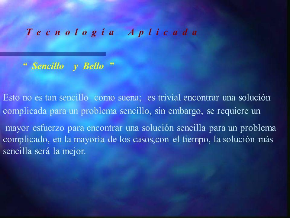 Sencillo y Bello Esto no es tan sencillo como suena; es trivial encontrar una solución complicada para un problema sencillo, sin embargo, se requiere
