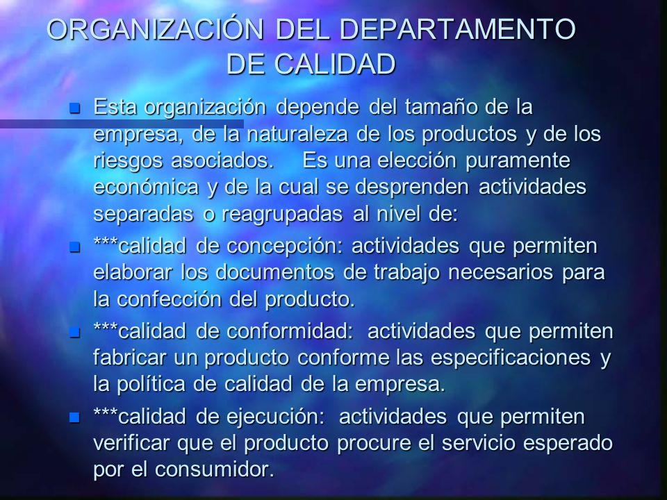 ORGANIZACIÓN DEL DEPARTAMENTO DE CALIDAD n Esta organización depende del tamaño de la empresa, de la naturaleza de los productos y de los riesgos asoc