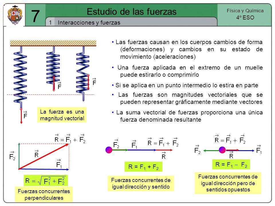 F l – l 0 7 Estudio de las fuerzas 2 Física y Química 4º ESO Las fuerzas y su medida Dinamómetro La medida de las fuerzas se basa en la medida de las deformaciones que producen en los cuerpos (alargamiento de un muelle) Hooke establece que que el alargamiento (l – l 0 ) producido en un muelle elástico es directamente proporcional a la magnitud de la fuerza que lo produce: F = K.