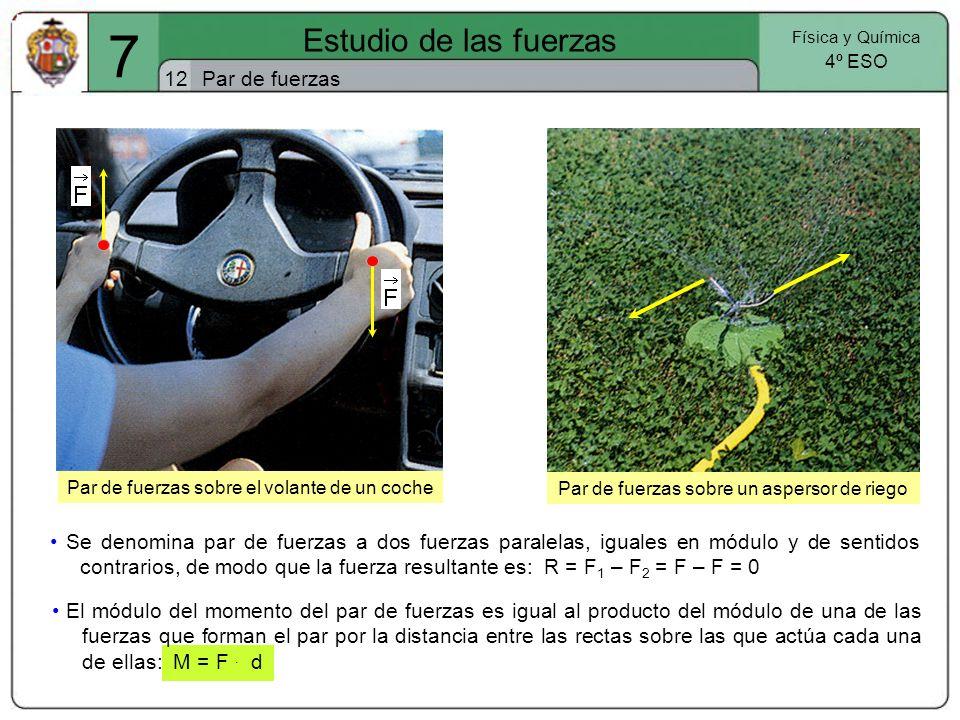 Par de fuerzas sobre el volante de un coche 7 Estudio de las fuerzas 12 Física y Química 4º ESO Par de fuerzas Se denomina par de fuerzas a dos fuerza