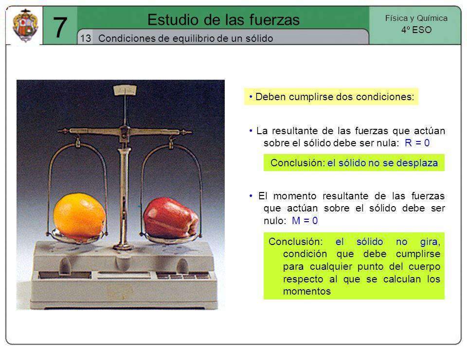 7 Estudio de las fuerzas 13 Física y Química 4º ESO Condiciones de equilibrio de un sólido La resultante de las fuerzas que actúan sobre el sólido deb
