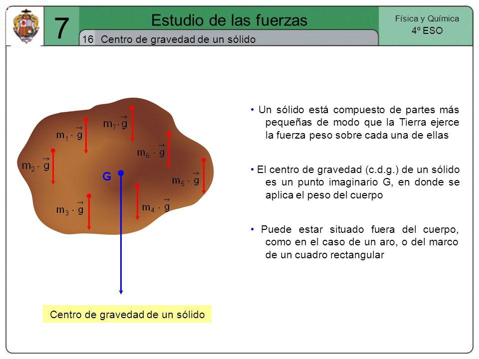 7 Estudio de las fuerzas 16 Física y Química 4º ESO Centro de gravedad de un sólido G Centro de gravedad de un sólido El centro de gravedad (c.d.g.) d
